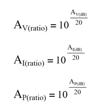 convert decibel gain equation