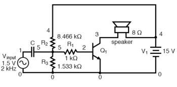 coupling capacitor prevents voltage divider bias