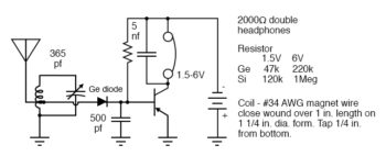 crystal radio with one transistor audio amplifier base bias
