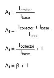 current gain of β plus 1 equation