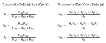 delta wye conversion equations