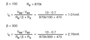 determine the required value of base bias resistor calculation2