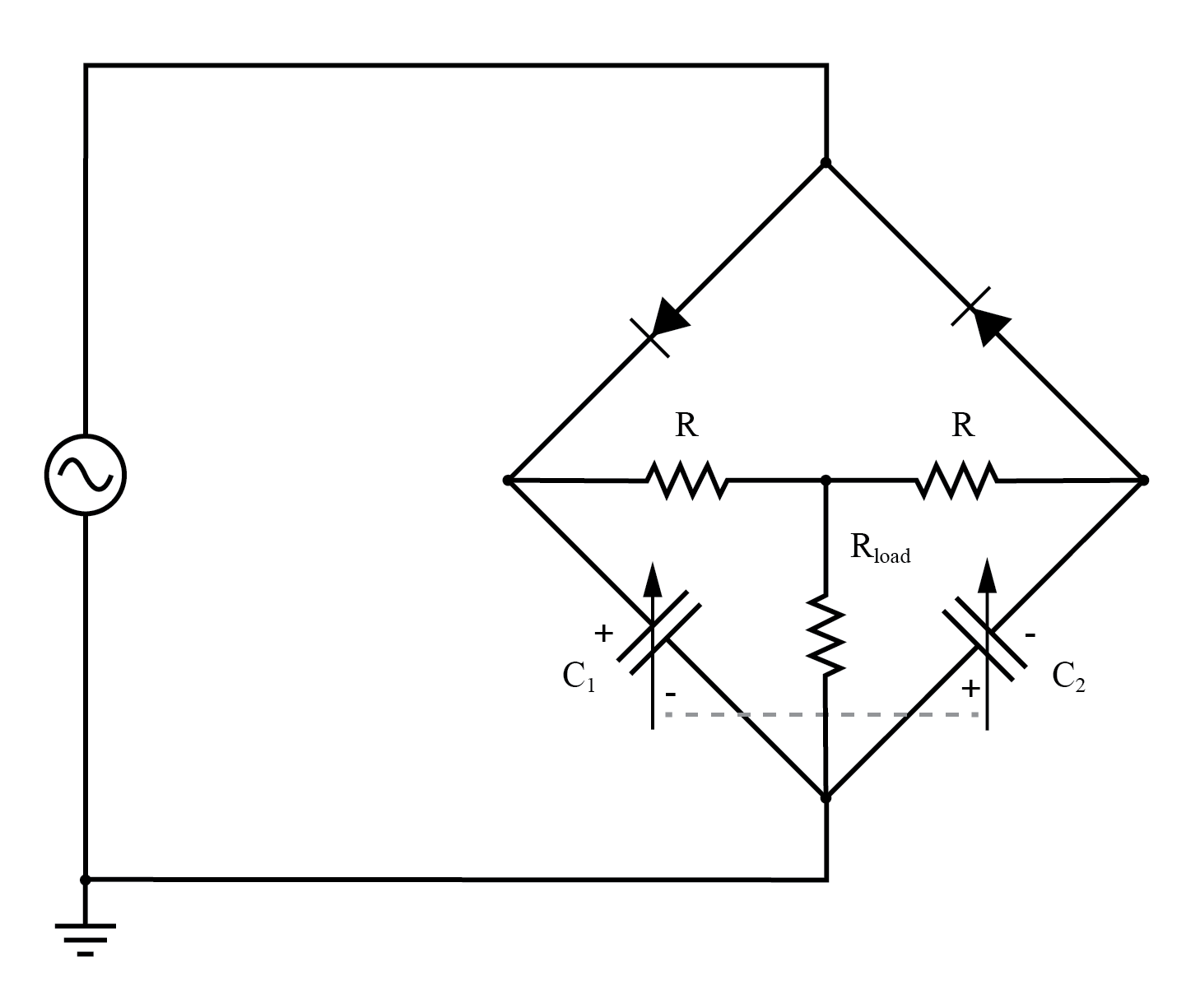 "Differential capacitor transducer ""Twin-T"" measurement circuit redrawn as a bridge.Output is across Rload."