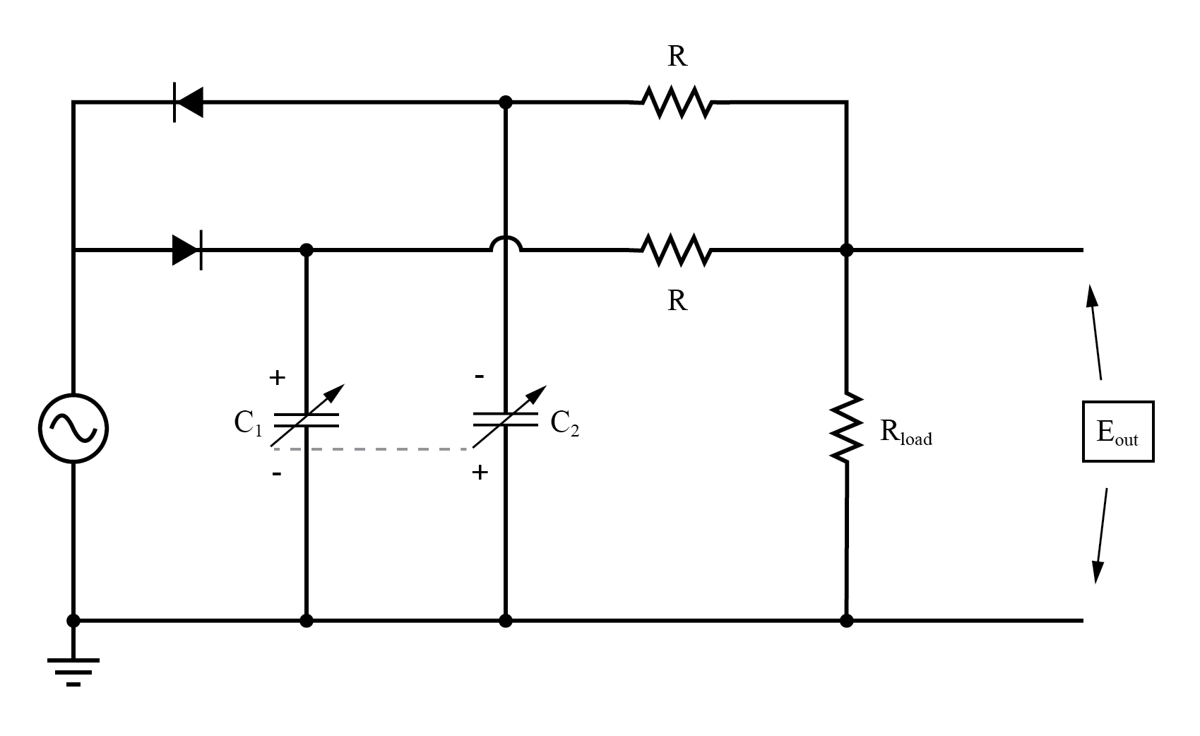 "Differential capacitive transducer ""Twin-T"" measurement circuit."
