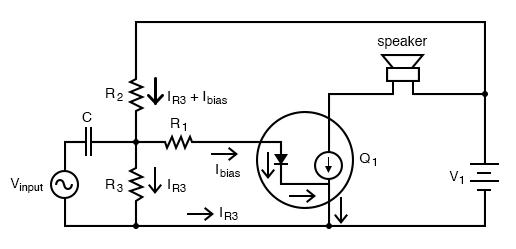 Diode transistor model shows loading of voltage divider.