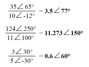 division of complex numbers in polar form