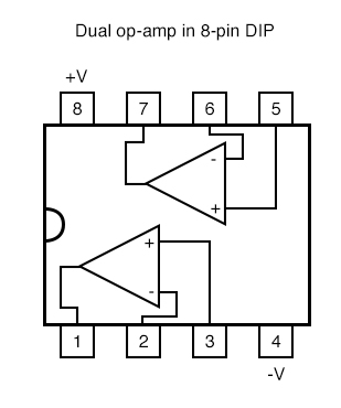 dual op amps in 8 pin DIP