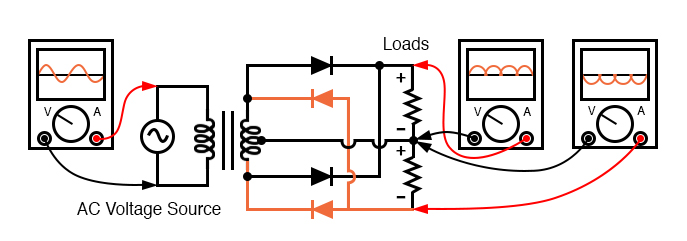 Dual polarity full-wave center tap rectifier