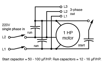 More efficient static phase converter. Start capacitor = 50-100µF/HP. Run capacitors = 12-16µF/HP. Adapted from Figure 1, Hanrahan