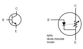 elementary diode resistor transistor model