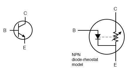 Elementary diode-resistor transistor model.
