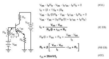emitter bias equations with internal emitter resistance