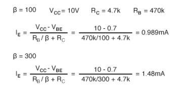 emitter current for a transistor calculation
