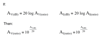 equations used for converting voltage or current gains