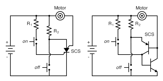 SCS: Motor start/stop circuit, an equivalent circuit with two transistors.