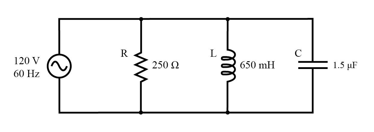 Example R, L, and C parallel circuit.