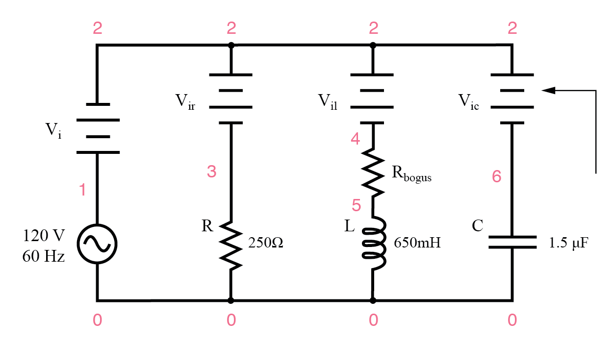 example parallel RLC spice circuit