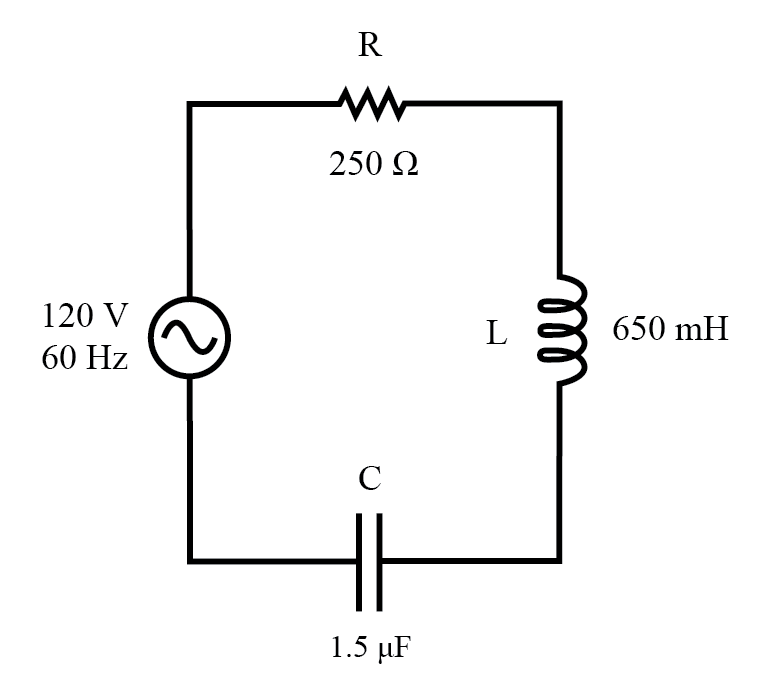 Example series R, L, and C circuit.