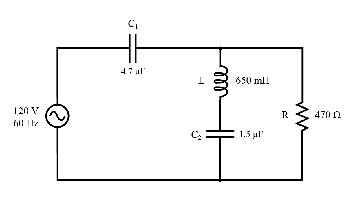 Example series-parallel R, L, and C circuit.
