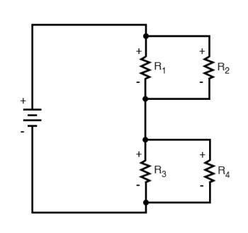 four resistor series parallel configuration