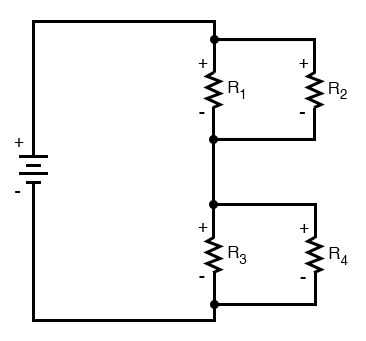 four resistor series parallel configuration image