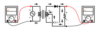 full wave center tap rectifier positive half cycle
