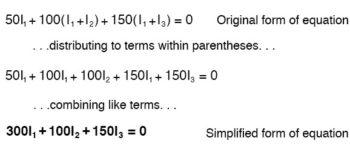 generating kvl equation for the loop bridge