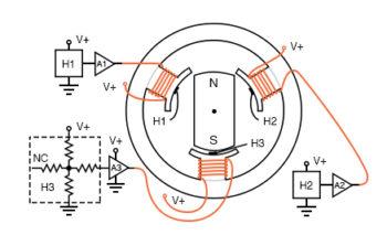 hall effect sensors 3 φ brushless dc motor