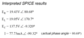 hand calculated spice results