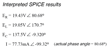 The SPICE simulation shows our hand-calculated results to be accurate.