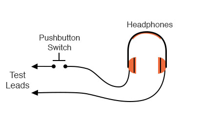 headphones and momentary contact switch