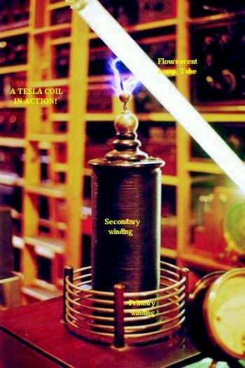 high voltage high frequency discharge from tesla coil