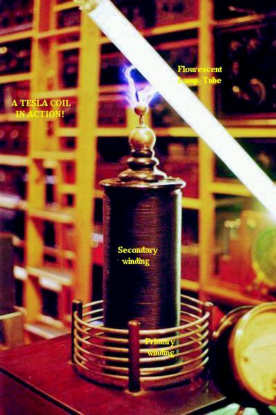 High voltage high frequency discharge from Tesla coil.