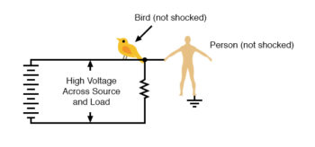 high voltage power without person getting shocked