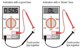 indication of a good and blown fuse multimeter