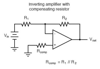 inverting amplifier with compensating resistor