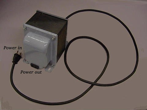 Isolation transformer isolates power out from the power line.