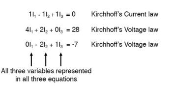 kirchhoffs current law equation and two kirchhoffs voltage law