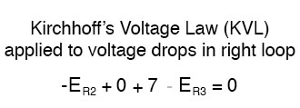 kirchhoffs voltage law applied to voltage drops in right loop