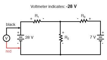 kirchhoffs voltage law negative voltage