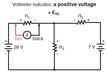 kirchhoffs voltage law positive voltage