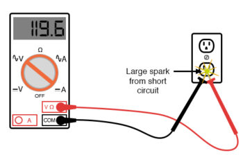 large spark from short circuit