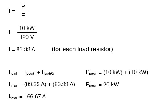 83.33 amps for each load resistor