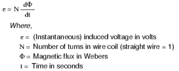 magnetic field flux with induced voltage formula