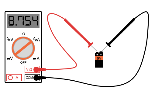 measure dc voltage from a battery