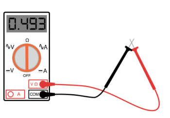 multimeter touching between the probe tips