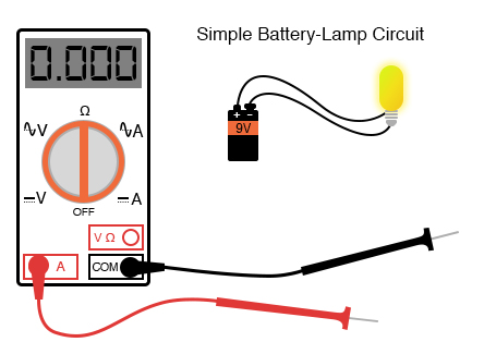 multimeter with simple battery lamp circuit