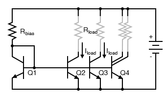 Multiple current mirrors may be slaved from a single (Q1 - Rbias) voltage source.