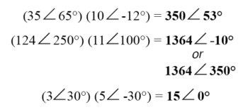 multiplication of complex numbers in polar form