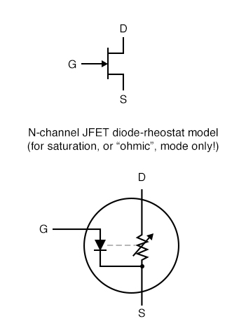 n channel jfet diode rheostat model